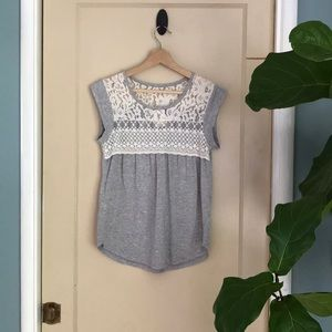 Self Esteem heathered gray with sheer lace top